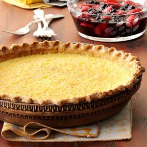 Lemon Chess Pie with Berry Sauce