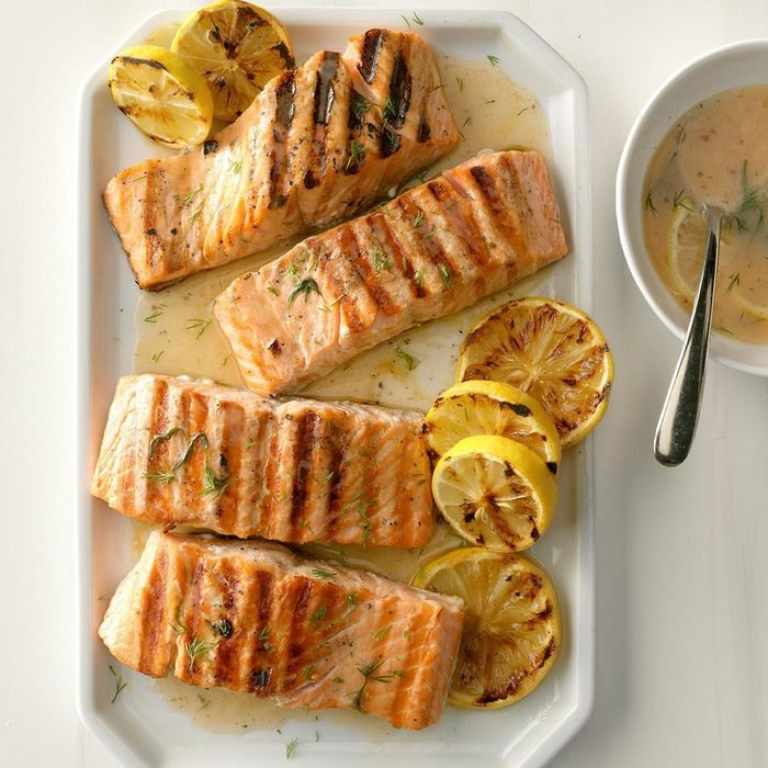July 16: Lemony Grilled Salmon Fillets with Dill Sauce
