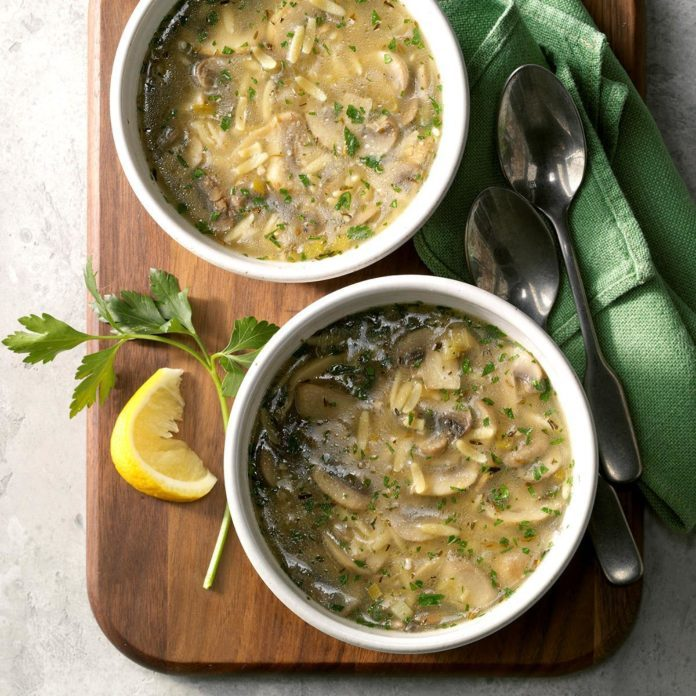 Lemony Mushroom-Orzo Soup for Two