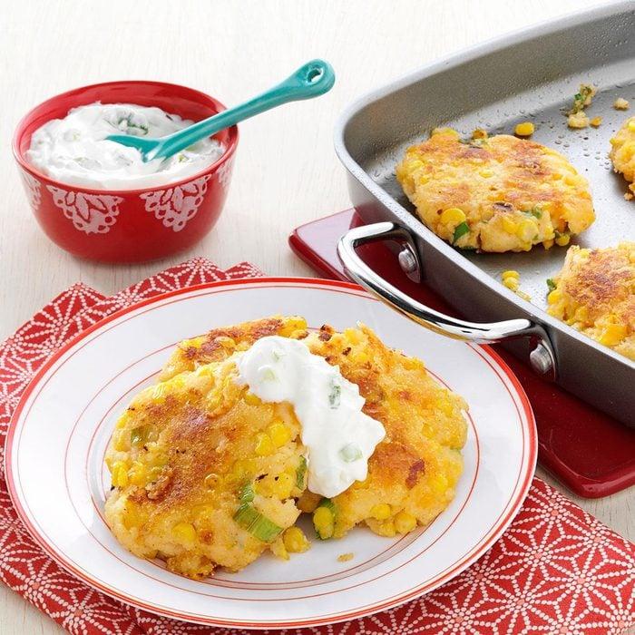 Loaded Cheddar-Corn Potato Patties