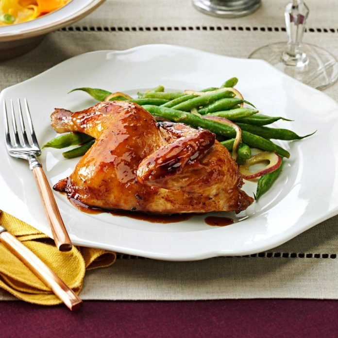 Mahogany-Glazed Cornish Hen