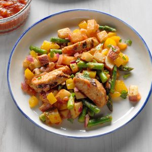 Mango Salsa Chicken with Veggie Hash