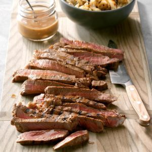 Marinated Steak with Grilled Onions