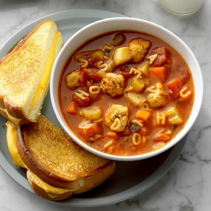 Inspired by Scrabble: Meatball Alphabet Soup