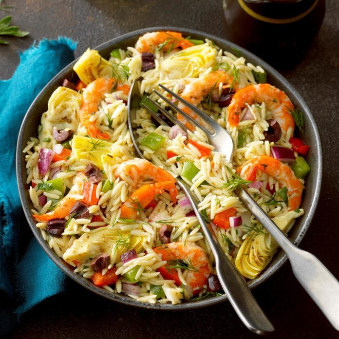 Day 14: Mediterranean Shrimp Orzo Salad