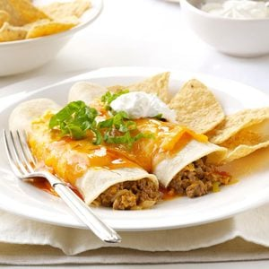 Microwave Beef & Cheese Enchiladas