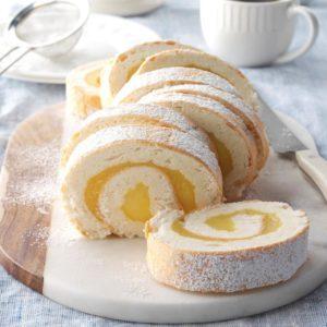 Moist Lemon Angel Cake Roll