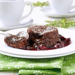 Molten Chocolate Cherry Cakes