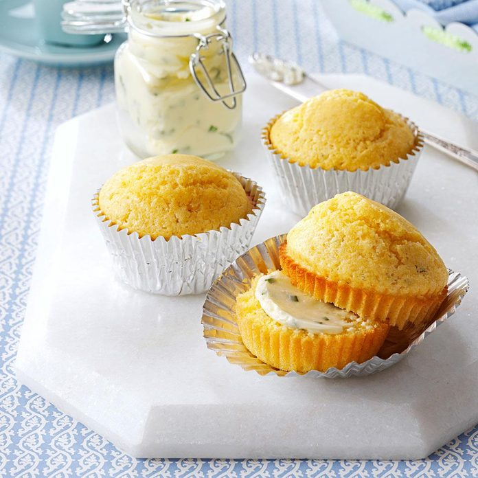 Mushroom Corn Muffins with Chive Butter