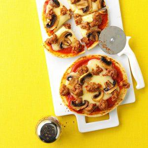 Mushroom & Swiss Pita Pizzas