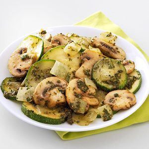 Mushroom & Zucchini Pesto Saute