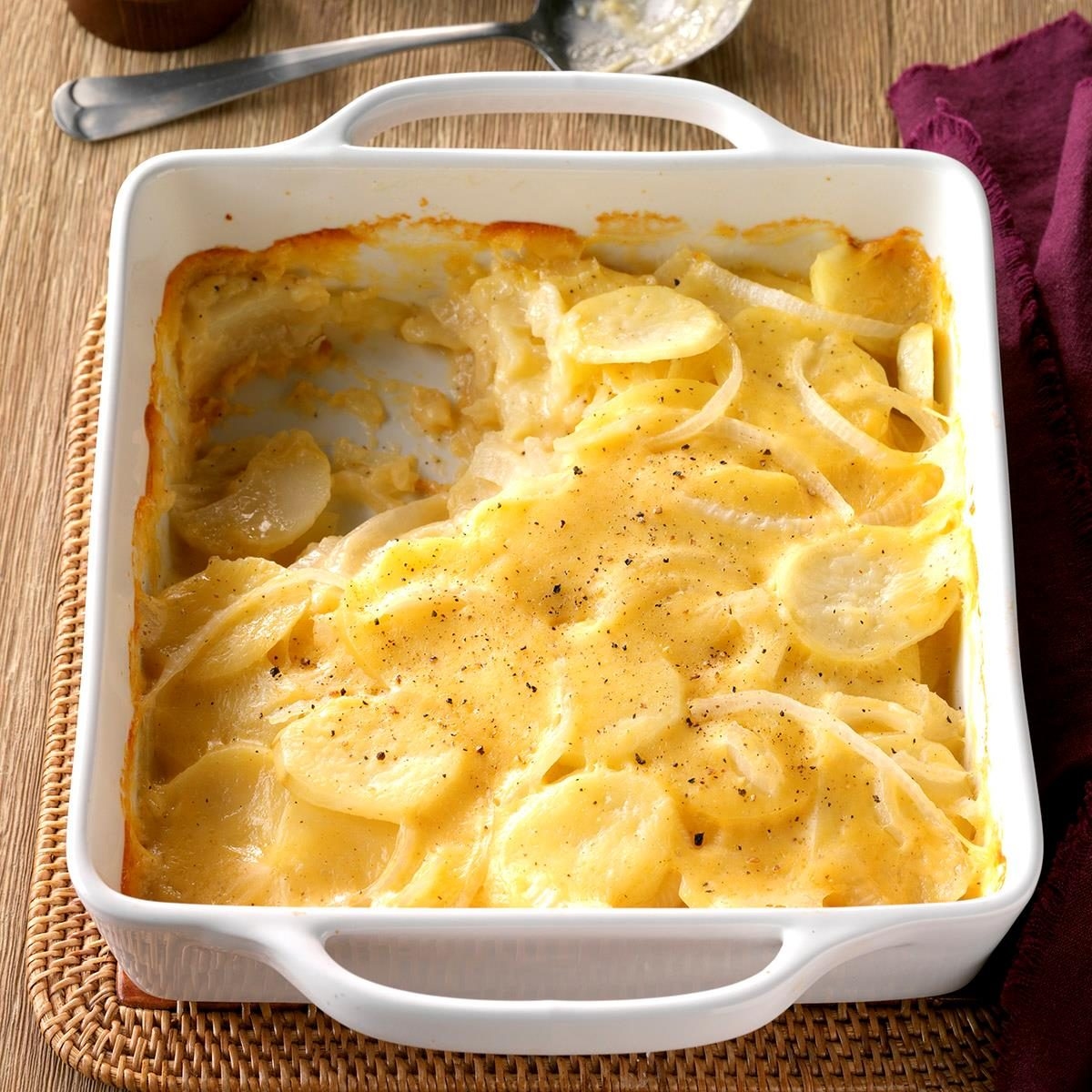 A steaming casserole of Never Fail Scalloped Potatoes