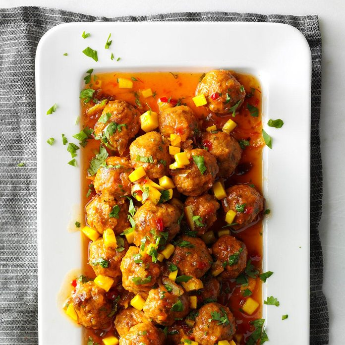 Orange-Glazed Chicken & Chorizo Meatballs
