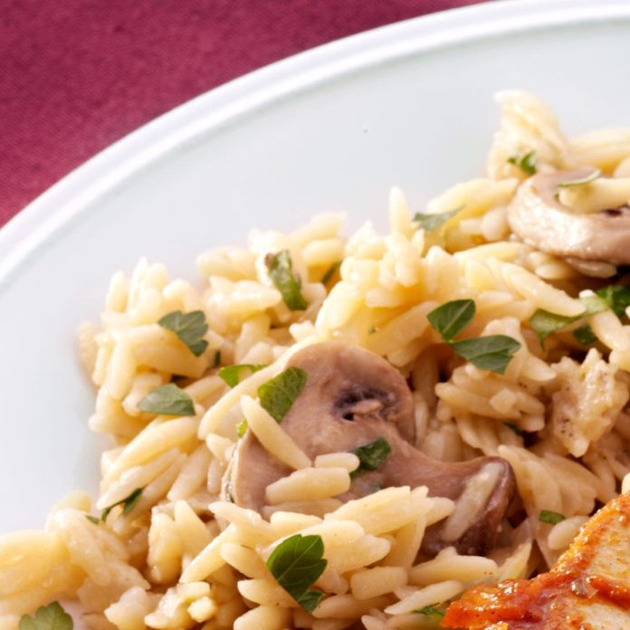 Orzo Pilaf with Mushrooms
