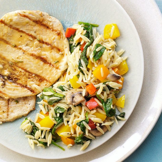 Orzo with Peppers & Spinach