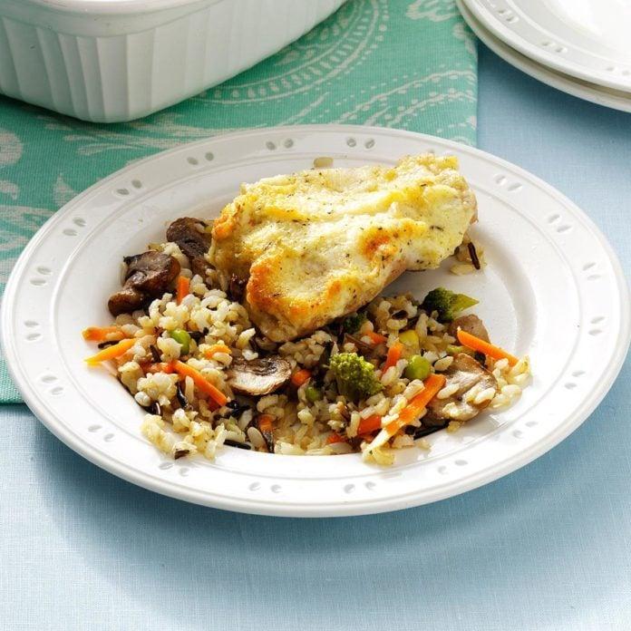 Parmesan Chicken with Mushroom Wild Rice