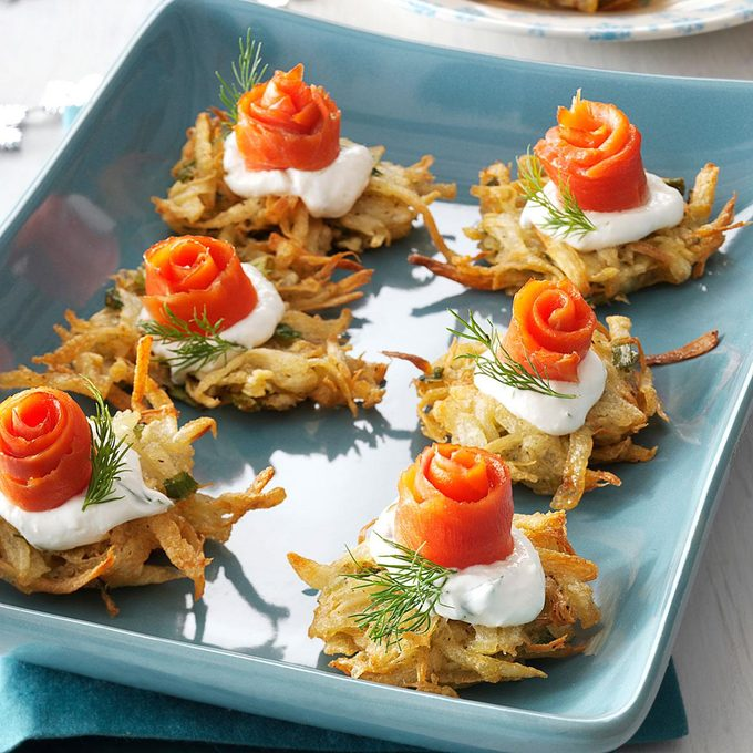 Parsnip Latkes With Lox And Horseradish Creme Exps161409 Thca2916394c09 28 3bc Rms