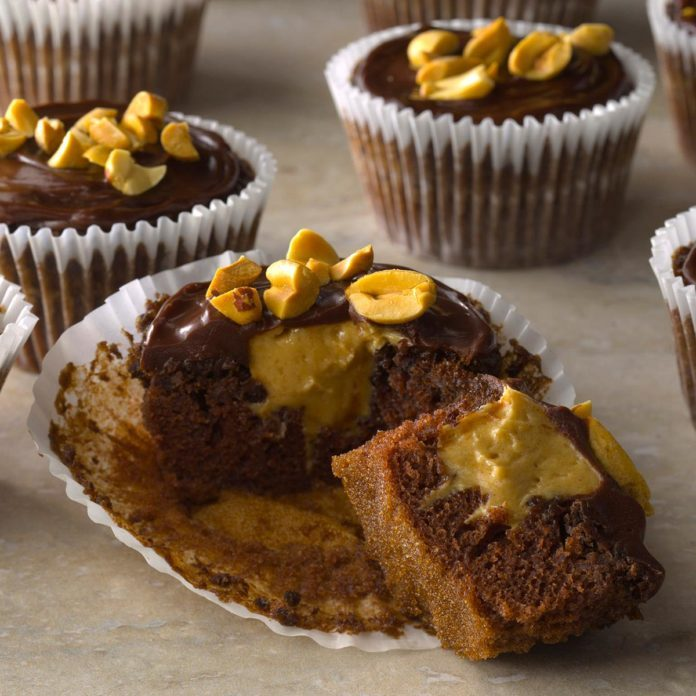 Peanut-Filled Devil's Food Cupcakes