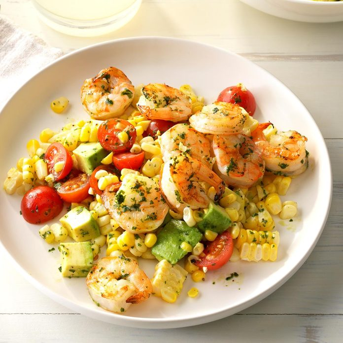 Day 30: Pesto Corn Salad with Shrimp