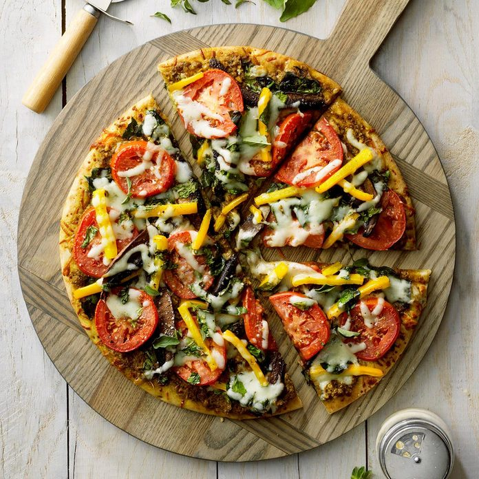 Pesto Vegetable Pizza