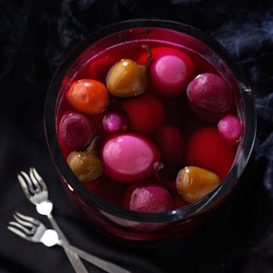 Pickled Eggs with Beets and Hot Cherry Peppers