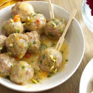 Pistachio-Turkey Meatballs in Orange Sauce