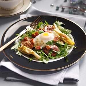Poached Egg Salads with Pancetta Vinaigrette
