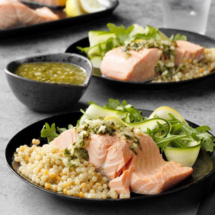 Poached Salmon with Chimichurri