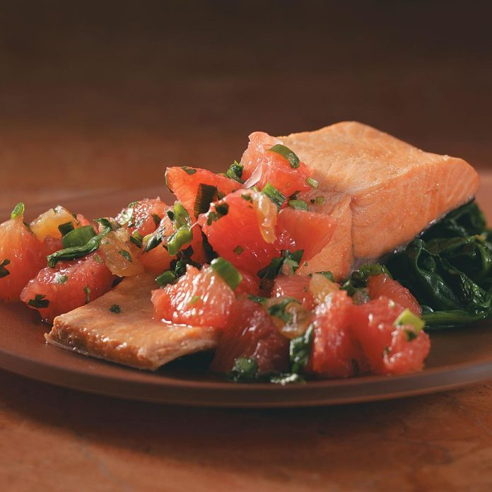 Poached Salmon with Grapefruit Salsa