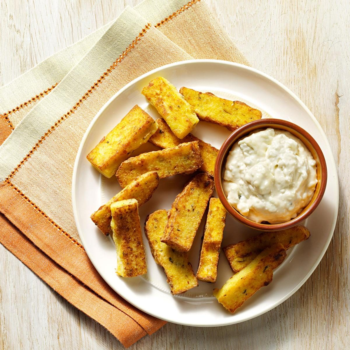 Polenta Fries With Blue Cheese Dip Recipe How To Make It Taste Of Home