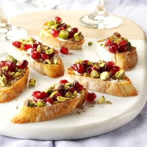 Pomegranate Pistachio Crostini