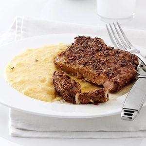 Porcini-Crusted Pork with Polenta