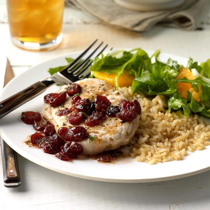 Day 28: Pork Chops with Cranberry Pan Sauce