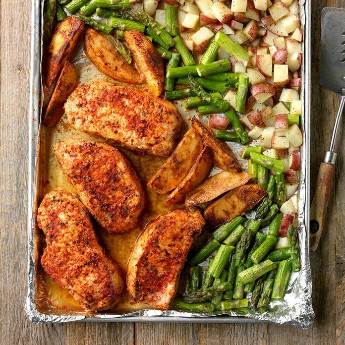Pork and Asparagus Sheet-Pan Dinner