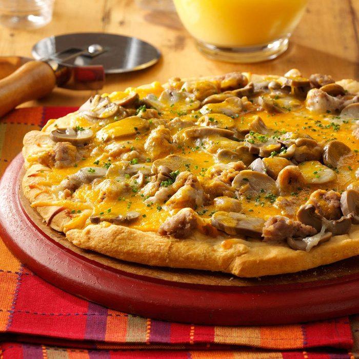 Pork and Mushroom Breakfast Pizza