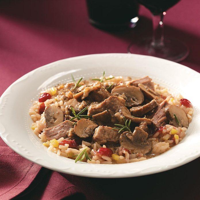 Portobello Beef Stew with Cranberry Pilaf