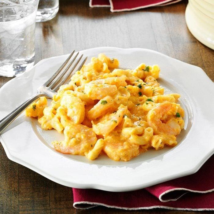 Pressure-Cooker Buffalo Shrimp Mac & Cheese