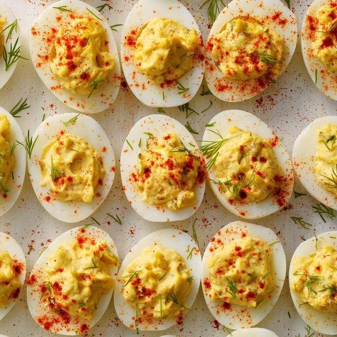 Pressure Cooker Garlic-Dill Deviled Eggs