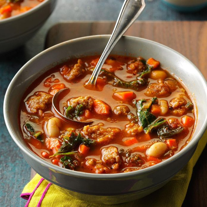 Pressure-Cooker Italian Sausage & Kale Soup