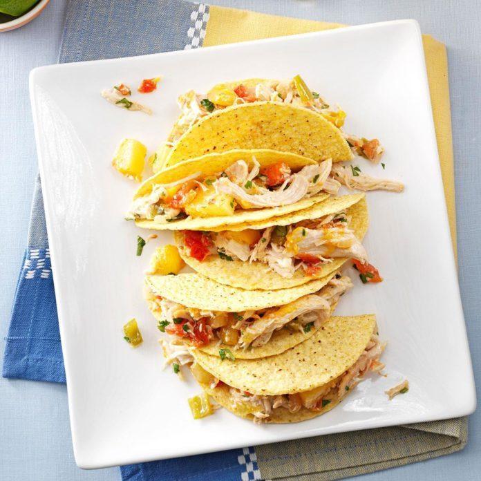 Pressure Cooker Mango-Pineapple Chicken Tacos