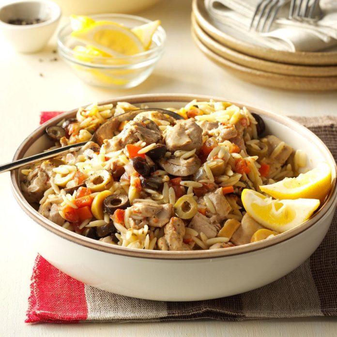 Pressure Cooker Mediterranean Chicken Orzo