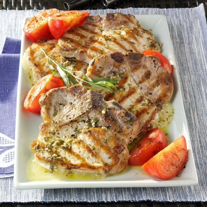 Provolone-Stuffed Pork Chops with Tarragon Vinaigrette