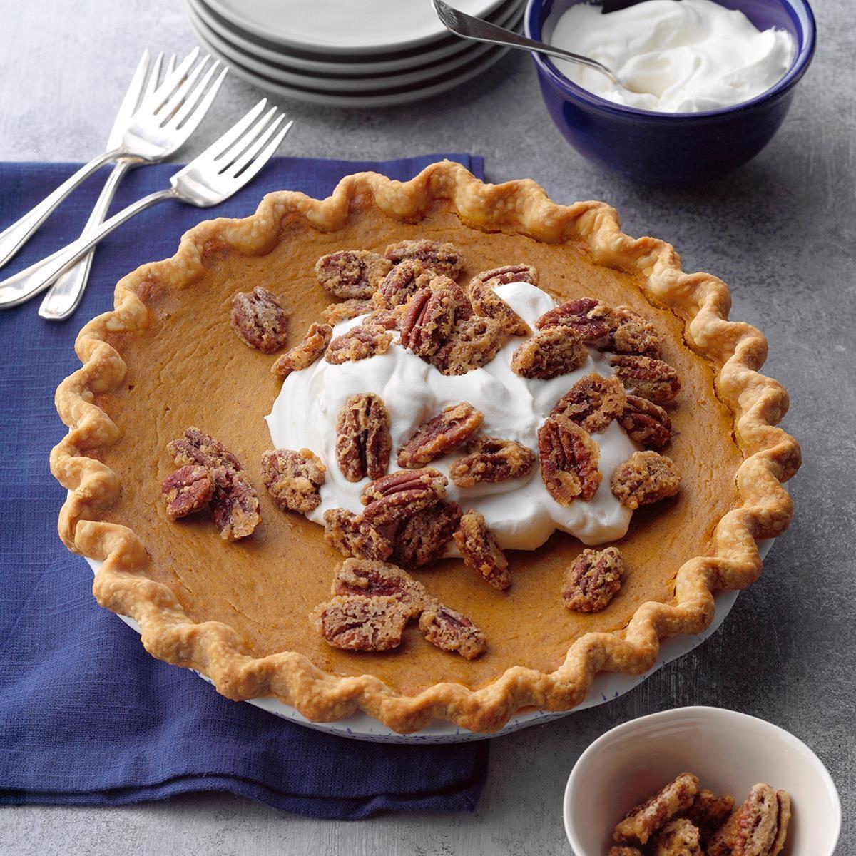 Thanksgiving Desserts Pecan Pie Pumpkin Pie More: Pumpkin-Sweet Potato Pie With Sugared Pecans Recipe