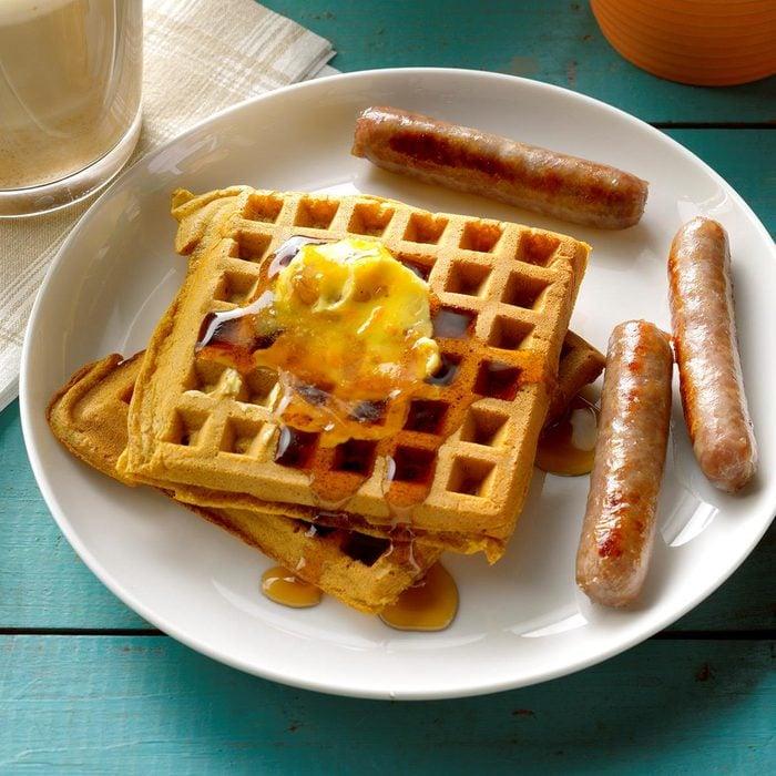 Pumpkin Waffles with Orange Walnut Butter