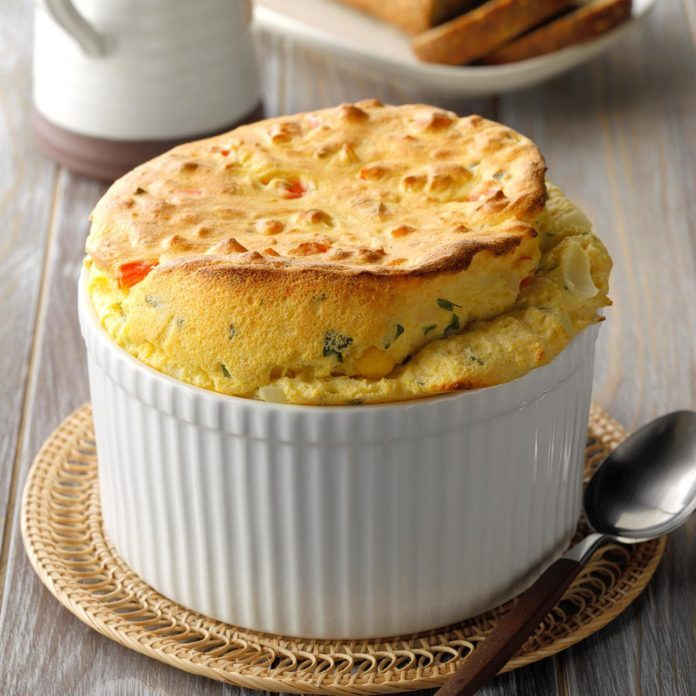 Red Pepper Cornmeal Souffle
