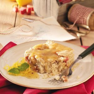 Rhubarb Cake with Lemon Sauce