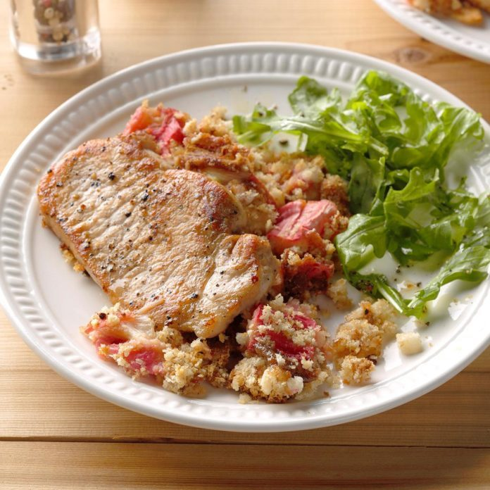April: Rhubarb Pork Chop Casserole