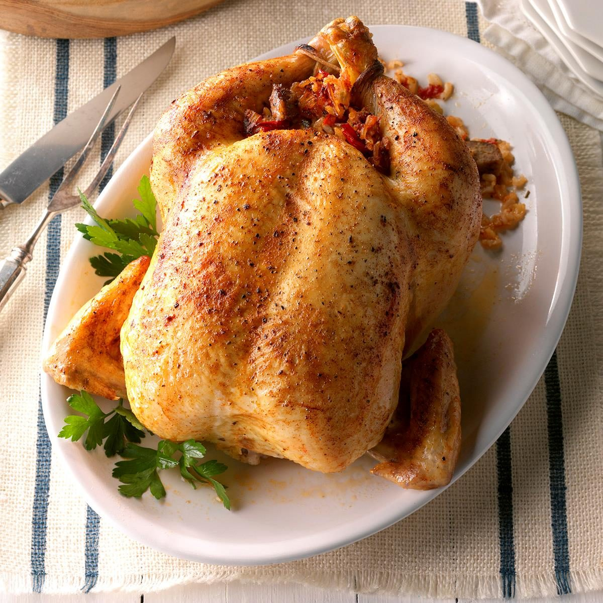 Roast Chicken with Creole Stuffing