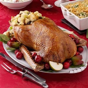 Roast Goose with Apple-Raisin Stuffing