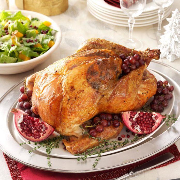 Roast Turkey with Sausage-Cabbage Stuffing